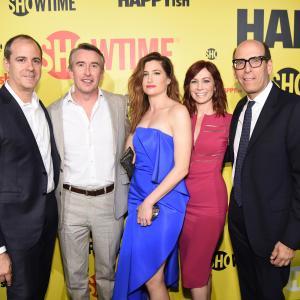 Steve Coogan, Carrie Preston, Kathryn Hahn and David Nevins at event of Happyish (2015)
