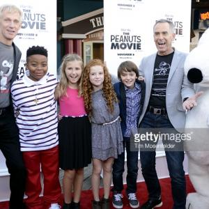 Screenwriter Craig Schulz, actor Mar Mar, actress Hadley Belle Miller, actress Francesca Capaldi, actor Noah Schnapp and director Steve Martino arrive at the red carpet premiere of 'The Peanuts Movie' at Pier 39 in San Francisco, Calif