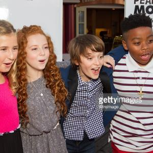 Actress Hadley Belle Miller, actress Francesca Capaldi, actor Noah Schnapp and actor Mar Mar arrive at the red carpet premiere of 'The Peanuts Movie' at Pier 39 in San Francisco, California.