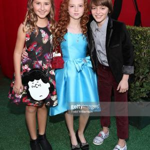 Hadley Belle Miller, Francesca Capaldi and Noah Schnapp attend the premiere of 20th Century Fox's 'The Peanuts Movie' at Regency Village Theatre in Westwood, California.