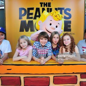 Alexander Garfin, Mariel Sheets, Noah Schnapp, Hadley Belle Miller, Francesca Capaldi, Marleik Mar Mar Walker attend 'The Peanuts Movie' cast photocall at Knott's Berry Farm in Buena Park, California.