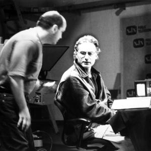 Marx confers with floor director during shoot at NJN Newark for BOYS TO MEN 2000
