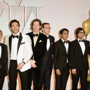 Jeff Goldblum, Adrien Brody, Wes Anderson, Jeremy Dawson, Tony Revolori and Hugo Guinness at event of The Oscars (2015)