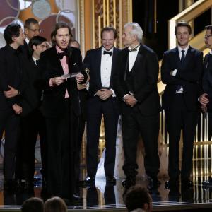 Ralph Fiennes, Jeff Goldblum, Bill Murray, Robert Downey Jr., Edward Norton, Adrien Brody, Jason Schwartzman and Wes Anderson at event of 72nd Golden Globe Awards (2015)