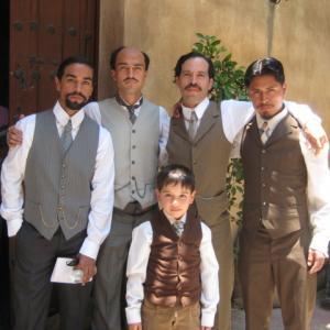 Luis Rosales, Alfonso Herrera, Mauricio Isaac, Harold Torres filming El Encanto Del Aguila.