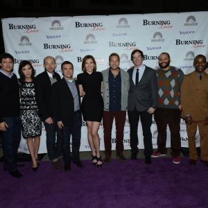 Still of Joe Lo Truglio, Ken Marino, Rob Huebel, Paul Scheer, Ryan Hansen, June Diane Raphael, Erica Oyama and Nick Thune in Burning Love (2012)