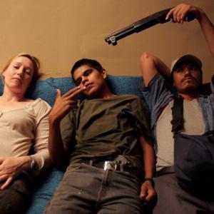 Los Bastardos: Nina Zavarin with Rubén Sosa as Fausto and Jesus Moises Rodriguez as Jesús