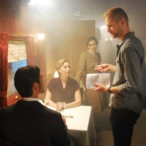 Nord Express cast with Director Stefan Kubicki (Konstanin Lavysh, Nina Zavarin, and Tamara Belousova)