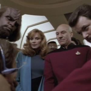 Still of Michael Dorn Jonathan Frakes Gates McFadden Wil Wheaton LeVar Burton and Patrick Stewart in Star Trek The Next Generation 1987