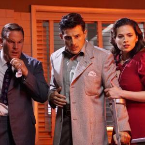 Still of Sean OBryan Hayley Atwell and Enver Gjokaj in Agent Carter 2015
