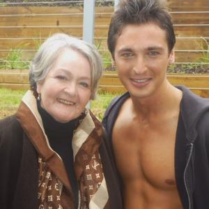 Val Lehman and Christian Poppi on set of a pilot
