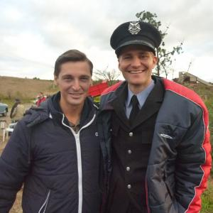 Christian Poppi and Rick Donald on the set of The Dr Blake Murder Mysteries